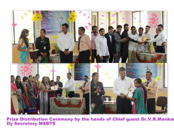 Prize distribution ceremony by the hands of Dr.V.J.Mankar Dy.Secretory MSBTE on dt 29 March 2016